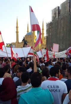 Demonstrators at a protest on Martyr Square, Beirut, in August 2015. (Image from Wikipedia)