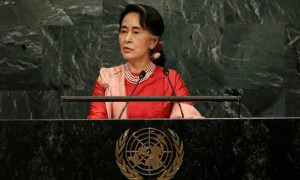 Aung San Suu Kyi adressing the UN General Assembly, outlining her visions for Myanmar. (Reuters)