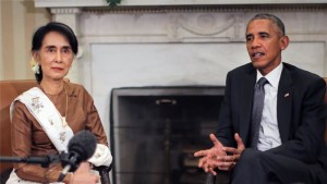 U.S. President Barack Obama meeting with Aung San Suu Kyi to discuss the future relationship between the U.S. and Myanmar. (Reuters)