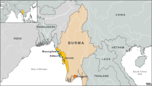 Location of the Rakhine state, where the majority of state residents are the Rohingya. (Voice of America)
