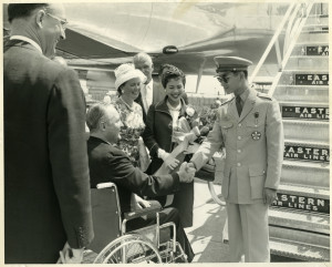King Bhumibol and Queen Sirikit with John F. Collins, mayor of Boston, Massachusetts