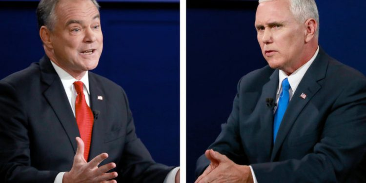 Tim Kaine and Mike Pence at the 2016 vice presidential debate. Source: Flickr Creative Commons