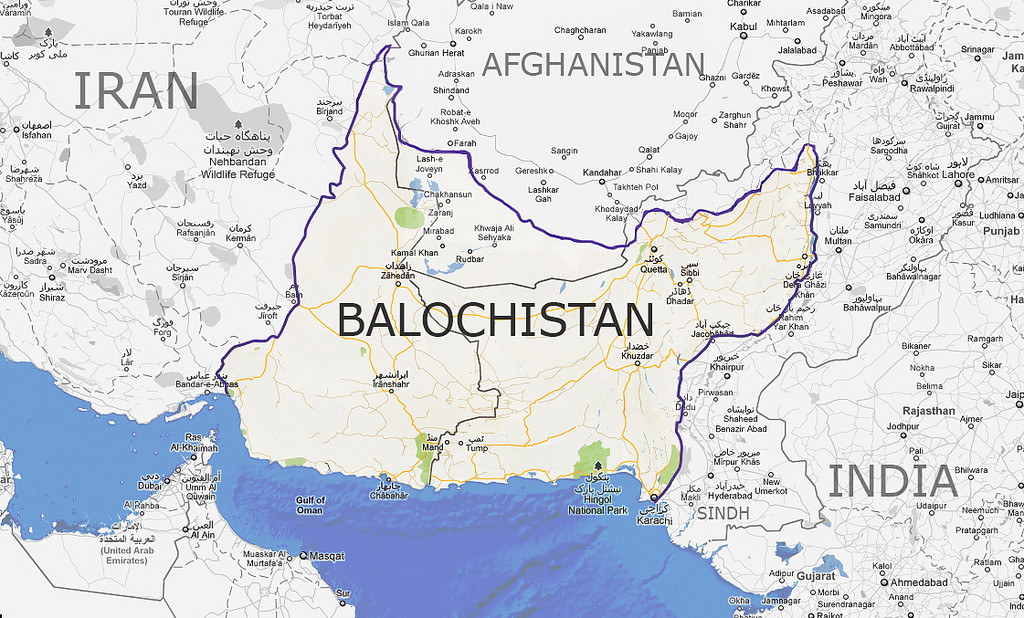 The historical region inhabited by Balochis, split between Iran and Pakistan.
