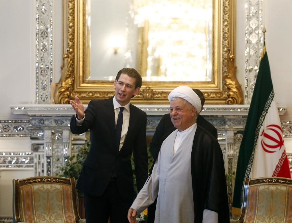 Hashemi Rafsanjani meeting Austrian's Minister of Foreign Affairs, Sebastian Kurz. Vienna, 2014.