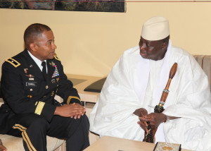 Jammeh (right) attends a conference during his presidency https://flic.kr/p/9xYppm