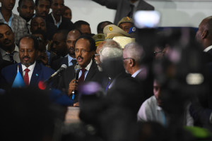 "Newly elected president Mohamed Abdullahi ""Farmajo"" makes an acceptance speech after he is sworn into office. https://flic.kr/p/RXkp3t"