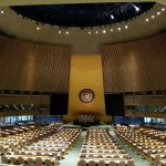 The United Nations General Assembly room during a break in session. Photo taken by author.