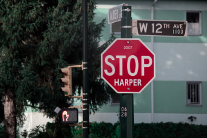 """the infamous """"Stop Harper"""" signs that popped up all over the country in 2015 https://flic.kr/p/pwjuTH"""