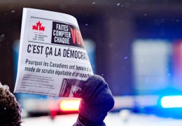 Photo taken in Montreal during the National Day of Action for Electoral Reform. Credit: Jeremy Clarke