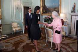President Barack Obama and First Lady Michelle Obama are welcomed by Her Majesty Queen Elizabeth II to Buckingham Palace in London, April 1, 2009.  Official White House Photo by Pete Souza (https://upload.wikimedia.org/wikipedia/commons/f/fd/Barack_Obama_Michelle_Obama_Queen_Elizabeth_II_Buckingham_Palace_London.jpg)